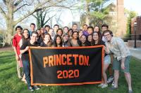 Orientation Leaders holding a Class of 2020 banner